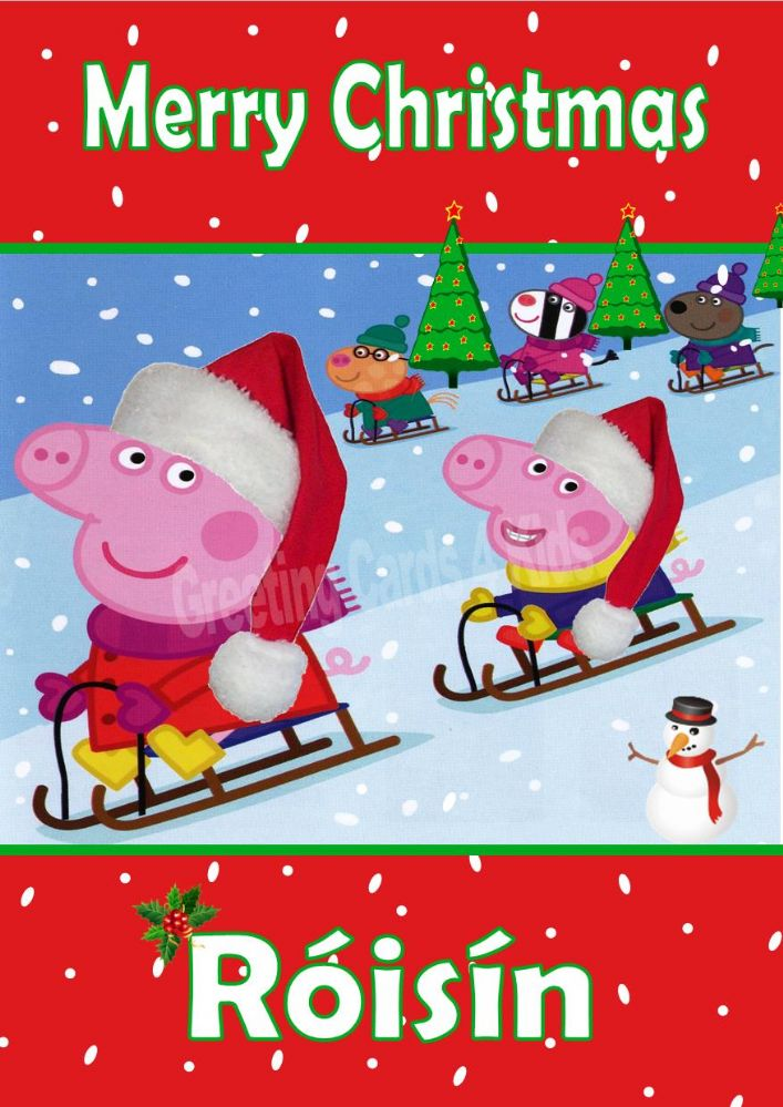 personalised peppa pig christmas card 1
